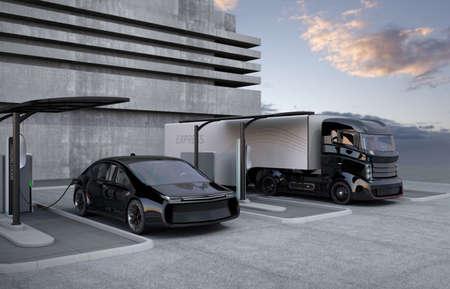 Hybride elektrische vrachtwagen en witte elektrische auto in laadstation