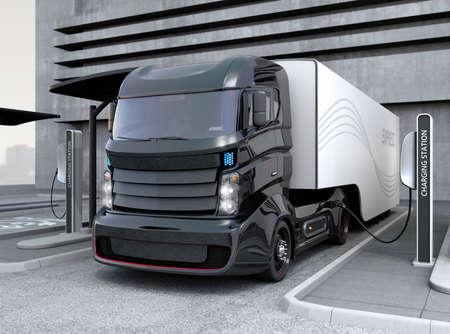 Hybride elektrische vrachtwagen die laden op laadstation