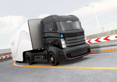 Autonomous hybrid truck driving on highway. Original design.
