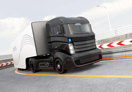 Autonome hybride vrachtwagen rijden op de snelweg. Origineel ontwerp.