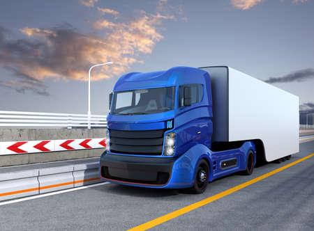Autonomous hybrid truck driving on highway. Original design.