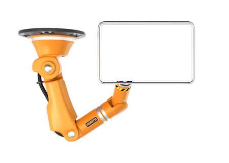 オレンジ色のロボット天井腕コピー スペースの空白のモニターを保持します。3 D レンダリング画像クリッピング パスと。