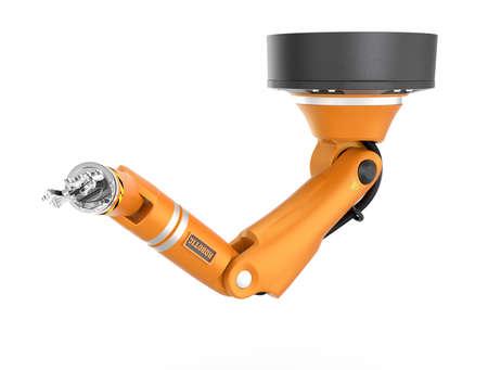 オレンジ色のロボット天井腕が白い背景で隔離。 3 D レンダリング画像クリッピング パスと。