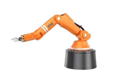 白い背景に分離されたオレンジ色のロボット アーム。 3 D レンダリング画像クリッピング パスと。
