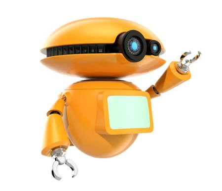 オレンジ色のロボットは、白い背景で隔離の手を振る。3 D レンダリング画像クリッピング パスと。