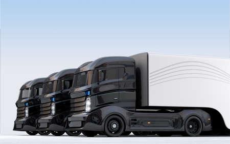 ハイブリッド電気トラック ラインに配置。3 D レンダリング画像クリッピング パスと。 写真素材