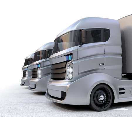 ハイブリッド電気トラックは、白い背景で隔離。