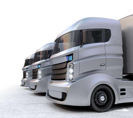 hybrid: Hybrid electric trucks isolated on white background. Stock Photo