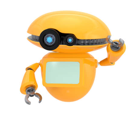 Orange robot shake hand isolated on white background. 3D rendering image with clipping path.