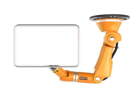 Oranje robotachtig plafond arm houdt lege monitor voor kopie ruimte. 3D-rendering afbeelding met het knippen van weg.