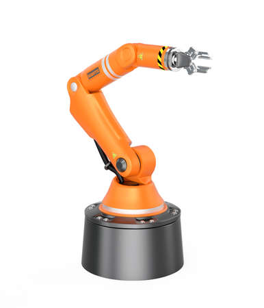 Orange robotic arm isolated on white background. 3D rendering image with clipping path. Stock Photo