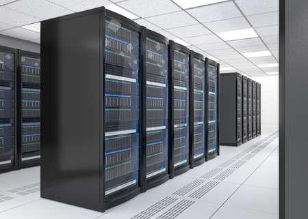 Filas de sistema de servidores blade sobre fondo blanco. Representación 3D de la imagen. Foto de archivo