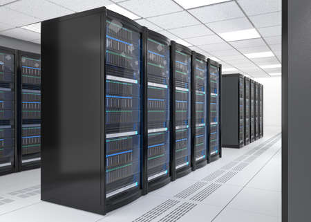 mainframe computer: Rows of blade server system on white background. 3D rendering image. Stock Photo