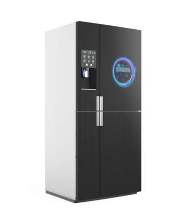 more information: Smart refrigerator with ice dispenser function. User can touch icon on the door to discover more information of food and drink inside. 3D rendering image with clipping path.