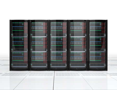 blades: Row of blade server system on white background. 3D rendering image.