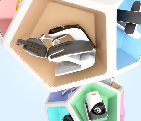 x ray machine: Dental equipment in pentagon cube. Concept for digital dentistry. Stock Photo