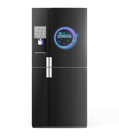 more information: Smart refrigerator with ice dispenser function. User can touch icon on the door to discover more information of food and drink inside. 3D rendering image