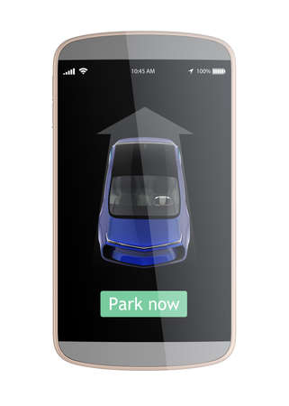 autonomous: Automatic parking apps interface design concept. Touch the park now button to parking car without driver in car. 3D rendering image