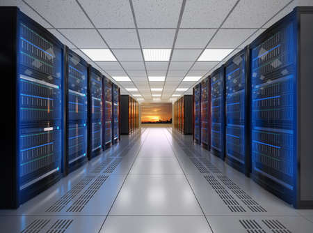 internet servers: Modern server room interior. 3D rendering image.
