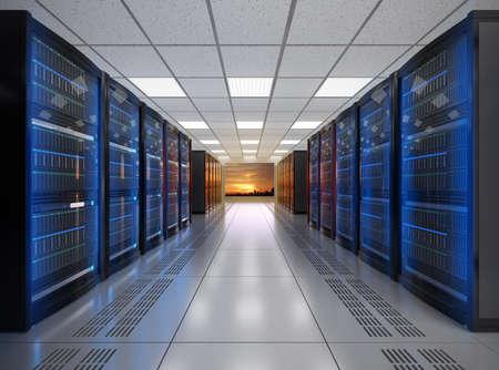 sala server interni moderni. 3D rendering di immagini. Archivio Fotografico