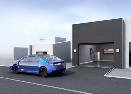 Blue electric car park near to parking garage. 3D rendering image.