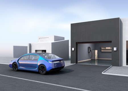 parking garage: Blue electric car park near to parking garage. 3D rendering image.