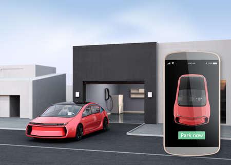 Automatische parkeerhulp concept. Gebruik slimme telefoon parkeerplaats app kan auto zonder chauffeur in de auto. 3D-rendering afbeelding.