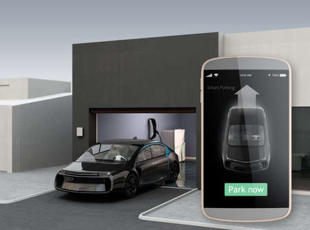 assist: Automatic parking assist concept. Use smart phone parking app can park car without driver in the car. 3D rendering image. Stock Photo