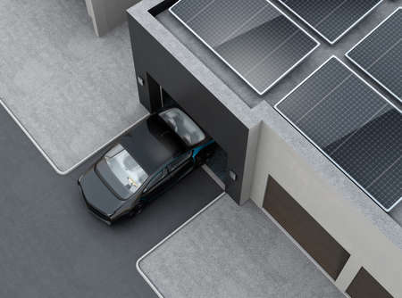 Black car in front of the garage. On the roof there are solar panels for solar energy. 3D rendering image.