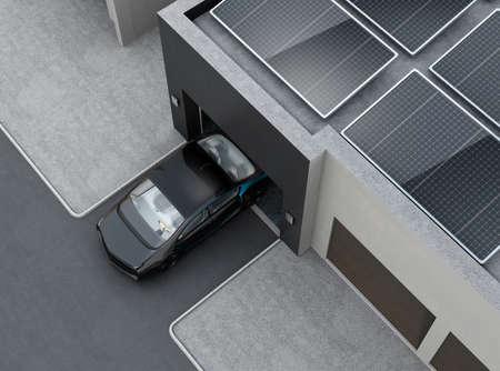 Zwarte auto in de voorkant van de garage. Op het dak zijn zonnepanelen zonne-energie. 3D-rendering afbeelding.