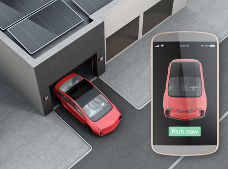 Automatische parkeerhulp concept. Gebruik slimme telefoon parkeerplaats app kan auto zonder chauffeur in de auto. 3D-rendering afbeelding. Stockfoto