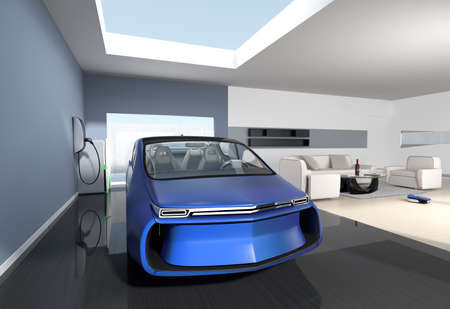 car park interior: Blue electric car park into modern garage. The garage connect with living room  which show a new lifestyle with electric car.