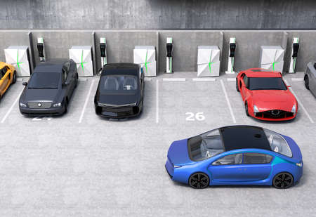 Blue electric car looking for charge point in parking lot. 3D rendering image in original design.