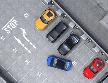 Aerial view of parking lot. Half of parking lot available for EV charging service. 3D rendering image.