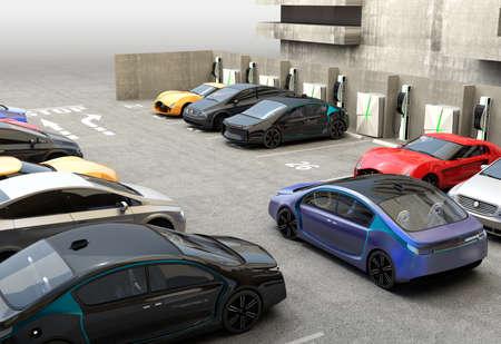 Blauwe elektrische auto op zoek naar oplaadpunt in parkeerterrein. 3D-rendering afbeelding in originele ontwerp.