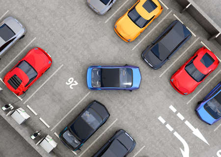 lot of: Aerial view of parking lot. Half of parking lot available for EV charging service. 3D rendering image.