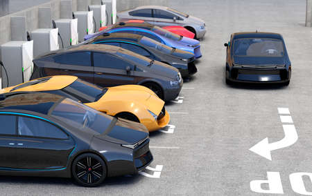parking lot: Blue electric car looking for charge point in parking lot. 3D rendering image in original design.