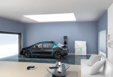car park interior: Black electric car park into modern garage. The garage connect with living room  which show a new lifestyle with electric car.