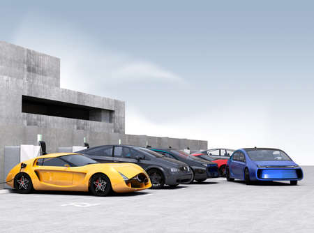 Blue electric car park into parking lot. 3D rendering image.