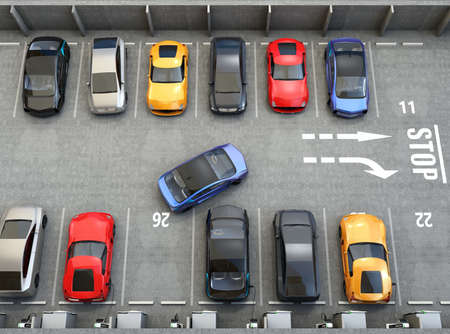 Aerial view of parking lot. Half of parking lot available for EV charging service. 3D rendering image. Stok Fotoğraf - 55054264