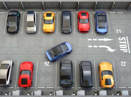 Luchtfoto van de parkeerplaats. De helft van de parkeerplaats beschikbaar voor EV opladen service. 3D-rendering afbeelding.