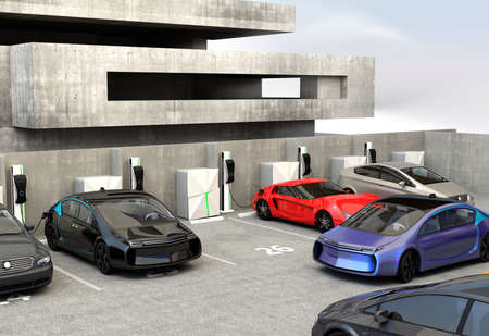 parking lot: Blue electric car looking for charge point in parking lot. 3D rendering image.