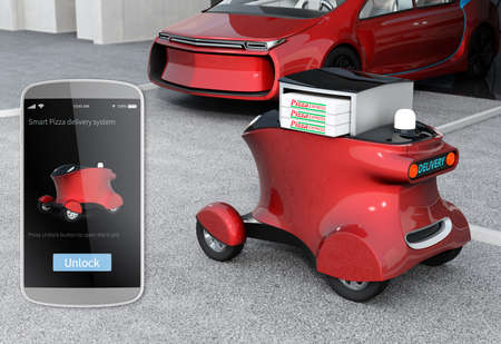 describe: Autonomous delivery robot in front of the garage waiting for picking pizza. On  the left side a smart phone order GUI interface for describe order in robot delivery system. 3D rendering image.