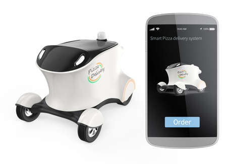 automaton: Self-driving delivery robot and smart phone isolated on white background. Concept for order pizza by smart phone and delivery by robot car. 3D rendering image in original design.
