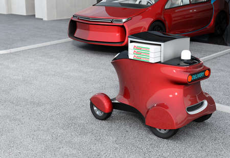 Metallic red self-driving delivery robot stopped in front of garage.  The trunk opened and pizza boxes in it. Copy space available in the left side. 3D rendering image.