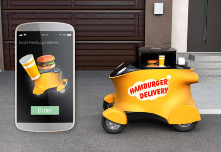 Autonomous delivery robot in front of the garage waiting for picking hamburger. Smart phone interface for hamburger delivery on the left side. 3D rendering image. Banco de Imagens