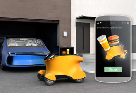 smart phone: Autonomous delivery robot in front of the garage waiting for picking hamburger. Smart phone interface for hamburger delivery on the left side. 3D rendering image. Stock Photo