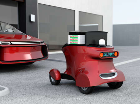 automatic: Autonomous delivery robot in front of the garage waiting for picking pizza. 3D rendering image in original design.