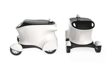 自動運転配送ロボット車のコンセプトです。ロボットは、ピザを運ぶことができるドライバーがないハンバーガー。体内で利用可能な領域にコピー