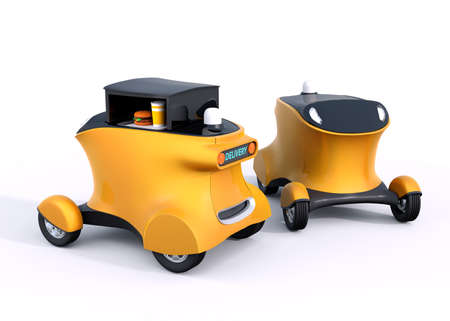 automaton: Two autonomous hamburger delivery robot cars isolated on white background. 3D rendering image Stock Photo